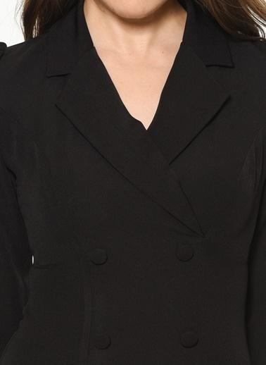 İroni Düğme Detaylı Mini Elbise Siyah